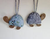 Turtle Ornaments Set of 2. Grey Brown Felt Fabric Tortoises. Silver Snowflakes on Vintage Gray Fabric. Silver Christmas Animal Decor.