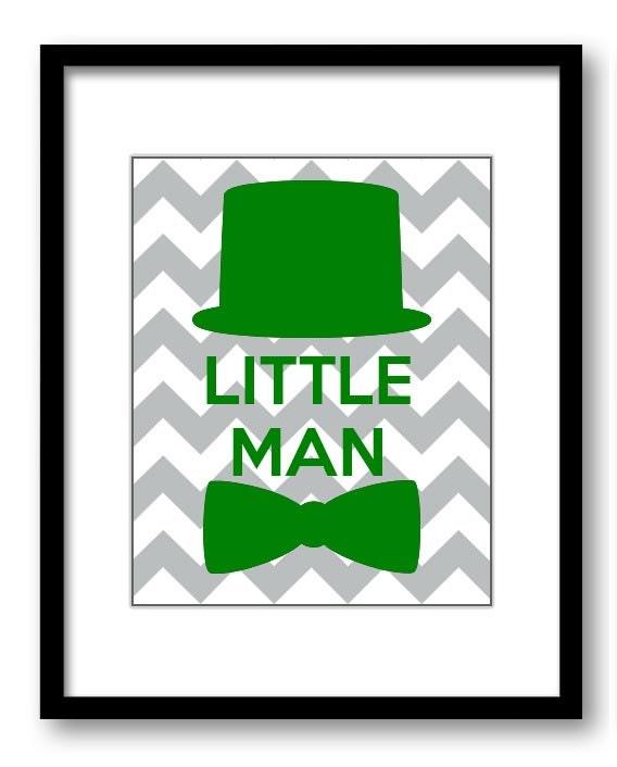 Green Grey Chevron Little Man Nursery Art Nursery Print Tophat Bowtie Child Baby Art Print Boys Kids