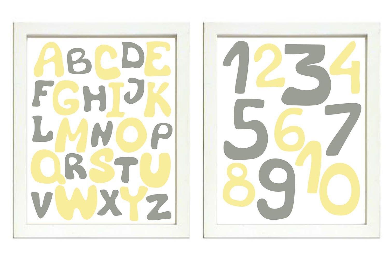 Yellow Grey Gray Alphabet Kids Room Nursery Art ABC Letters Numbers Nursery Print Set of 2 Child Bab