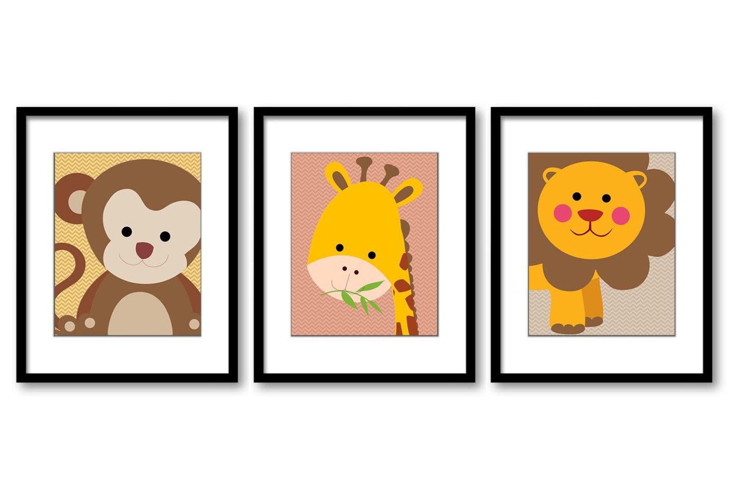 Cute African Safari Animals Art Prints Set of 3 Monkey Giraffe Lion Art Nursery Art Nursery Print Ch