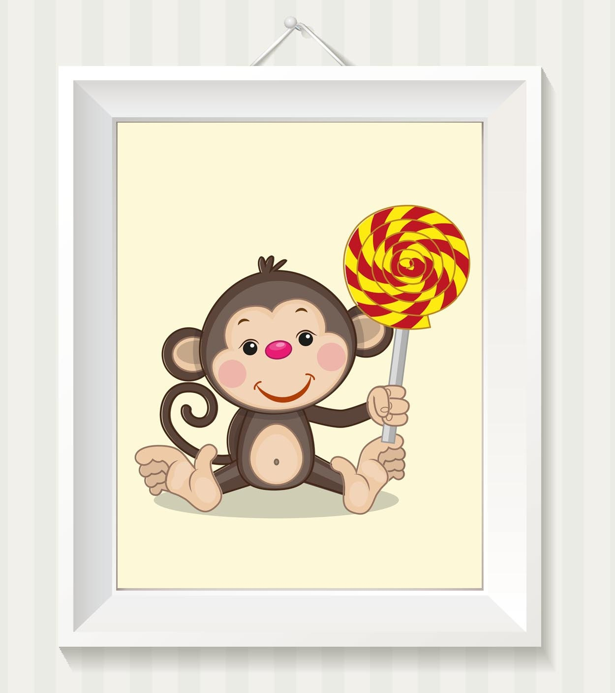 Monkey Nursery Art Monkey Nursery Print Baby Art Baby Animal Brown Beige Red Yellow Lolly Pop Sucker