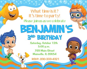 Bubble Guppies Birthday Party Invitation - Printable or Printed with FREE SHIPPING