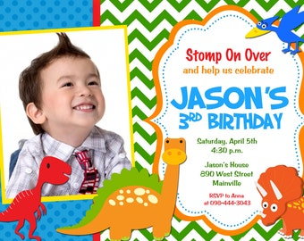 Dinosaur Birthday Party Invitation - Printable
