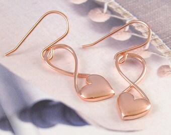 Dangle Earrings - Gold Dangly Earrings - Bridesmaids Earrings - Gold Drop Earrings - Heart Earrings - Long Drop Earrings, Rose Gold Earrings