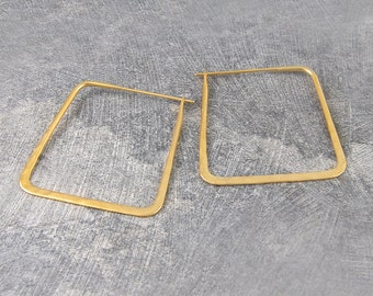 Gold Hoop Earrings, Silver Hoop Earrings, Large Hoop Earrings, Statement Earrings, Geometric Earrings, Hammered Earrings, Square Earrings