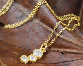 Topaz Necklace, Gold Topaz Pendant, Simple Necklace, Gemstone Necklace, Diamond Cut Stone, Semi Precious Stone, Clear Natural Stone Necklace