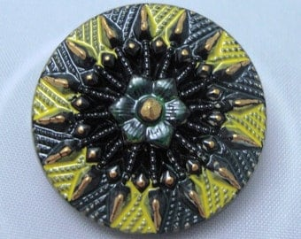 Czech Glass Button 27mm - hand painted - yellow, green, black, gold (B27219)