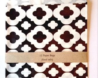 Black patterned paper bags