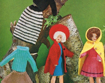 "12"" Dolls clothes knitting pattern. Barbie or Sindy. Vintage copy. PDF instant download."