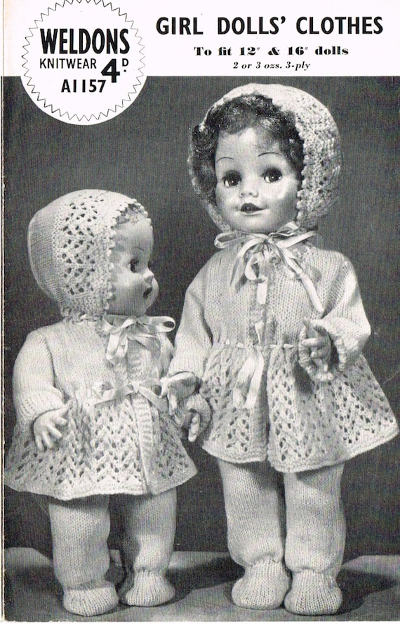 Dolls Clothes Knitting Pattern 12 Amp 16 Doll Baby
