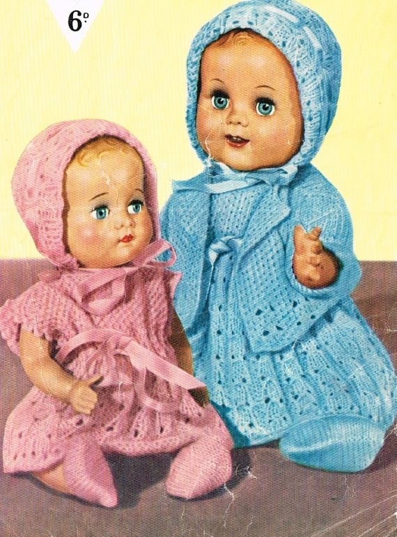Vintage Knitting Patterns Dolls Clothes : Dolls clothes knitting pattern.10-12 doll. Vintage copy.