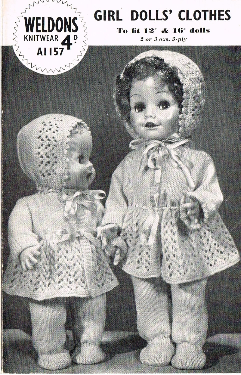 Knitting Patterns For Dolls Clothes 12 Inch : Dolls clothes knitting pattern.12 & 16 doll. Baby