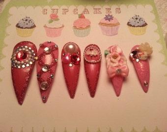 Kawaii Hime Gyaru Japanese Stiletto Hot Pink Bling Nails