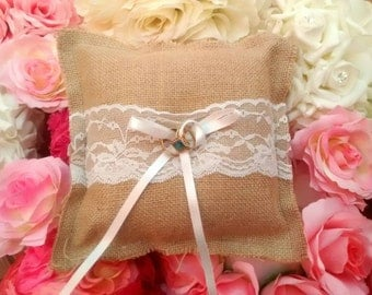 Burlap/hessian ring bearer pillow