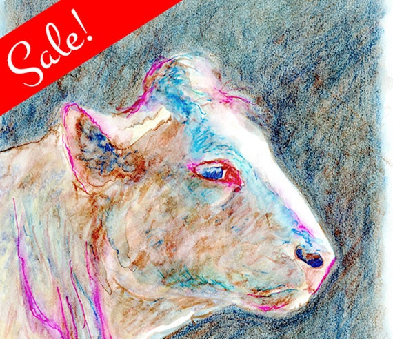 SALE: Cow Portrait, Watercolor Pastel Sketch