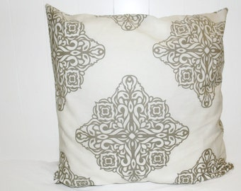 Decorative 18x18 Premier Prints Tan and Off White Damask Pillow Cover