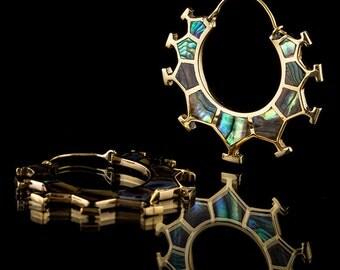 MARAMA Honeycomb Brass & Abalone Shell Earrings - Small (Code 314)