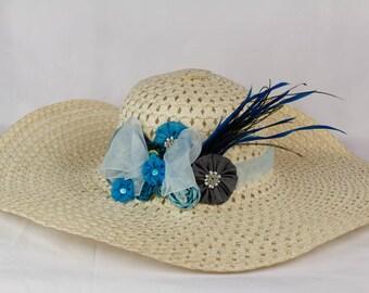 Women's Derby Hat- Cream and Blue