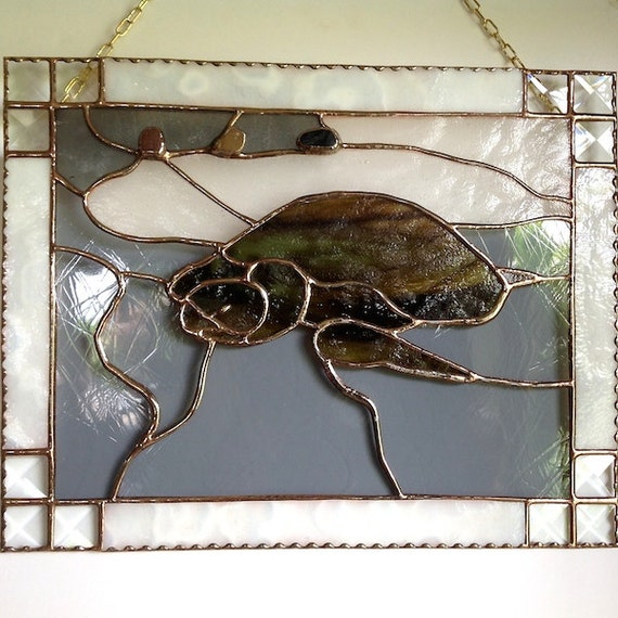Honu Turtle Inspirational Stained Glass Panel Art with a Message Made in Hawaii Black Sands Beach Deesigns by Harris