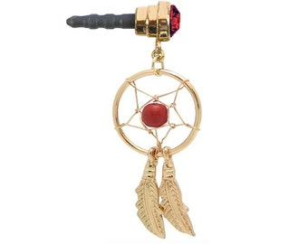 Phone Charm Dust Plug Goldtone DREAM CATCHER Curved Feathers Red Gem Red Bead for Cell iPhone Android Galaxy Mobile Ipad Tablet