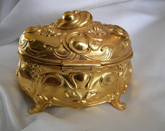 Antique Jewelry Casket Jennings Brothers Art Nouveau, Bridgeport, CT from 1910's Gold Re-Plated