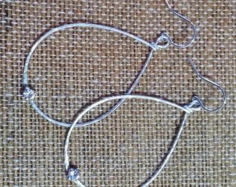 Silver Teardrop Earrings with Swarovski (large)