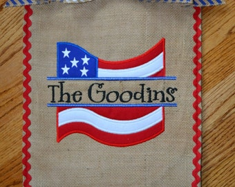 Custom Monogrammed Fourth of July Patriotic Burlap Garden Flag Personalized with Name