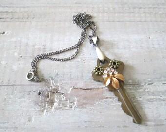 Owl Key Pendant, Assemblage Jewelry