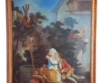 French Lovers-Original 18th Century Oil Painting on Canvas -NICE!!