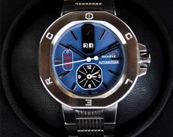 "Clerc Ikon 8 ""Oversized Watch"" w/Beautiful Blue Dual Time Dial-Mint w/Box"
