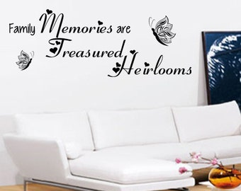 Family Memories Wall Art - Vinyl Wall Art Sticker Decal - Living Room, Bedroom, Hall Family Memories Are Treasured Heirlooms