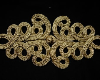 MR153 Gold Metallic Cord Loopy Fastener Frog Closure Knot Button Sewing/Jewelry/Craft