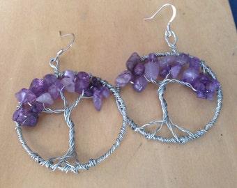 Amethyst Tree of Life earrings
