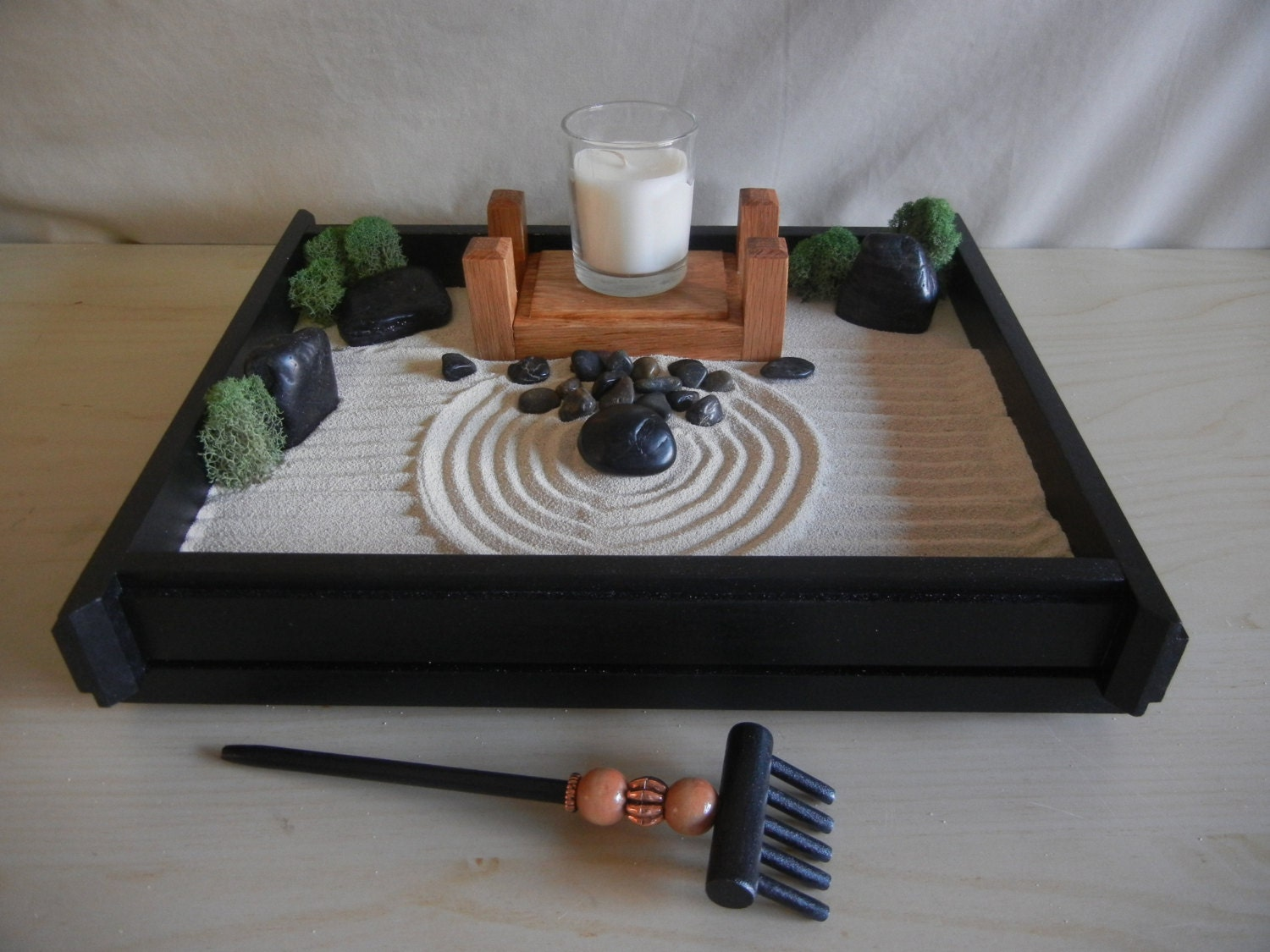 M 02 medium desk or table top zen garden with solid oak for Table zen garden