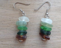 Natural green and brown ombré sea glass earrings, found beach glass earrings, handmade using stainless steel ear wires