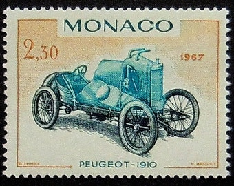 Vintage Racing Car Peugeot 1910 Monaco -Handmade Framed Postage Stamp Art 10488
