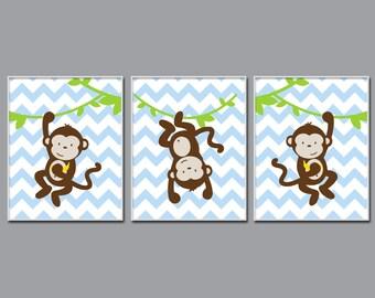 Baby Boy Nursery Art, Three Cheeky Monkeys, Suits Brown And Blue Nursery, Baby Boy Chevron Wall Art, Boys Decor - H250 - Unframed