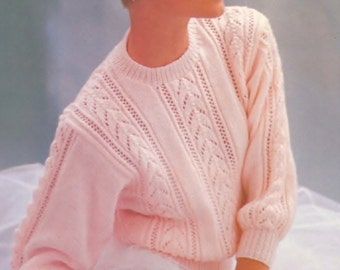 Ladies DK 8ply Light Worsted  Lacy Long Sleeved Jumper  in Sizes 32 - 40ins - PDF of Vintage Ladies Knitting Patterns