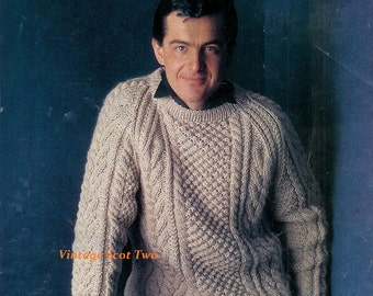 Bulky Gents Chunky Aran style sweater 40-45 ins   - Marriner 976 - of  Vintage Knitting Patterns for Men