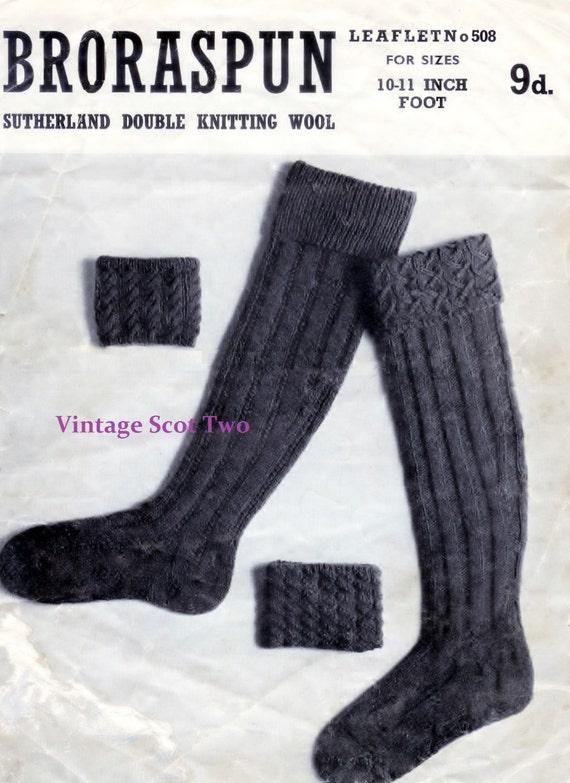 Knitting Pattern For Scottish Kilt Socks : Authentic Scottish Mens Kilt Socks in DK 8 ply Light Worsted