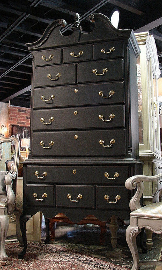 Black Painted Queen Ann Chippendale Highboy High Boy Dresser