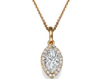 Art Deco Marquise Diamond Pendant Necklace, 14K Rose Gold Necklace, 0.7 CT Studded Diamond Necklace, Wedding Jewelry, Anniversary Gift