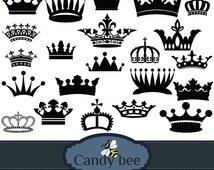 Royal Crown Silhouette digital clipart-  Buy 1 get 1 Free, Buy 2 get 2 Free, Buy 3 get 3 Free! SAJ-396.