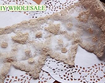 13cm wide  gold bridal wedding mesh embroidery lace trim ribbon 1 yard