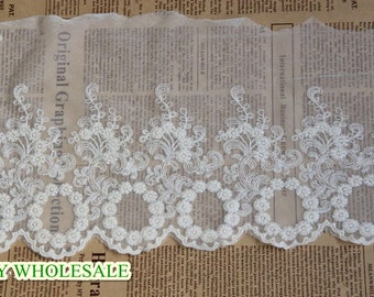 Lace Fabric Trim Cotton embroidery lace Floral Lace Fabric Cloth TRIM 2 yards