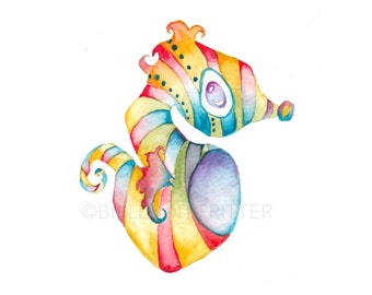 Ocean Nursery Art - Seahorse Watercolor Print - Ocean Baby Art - Seahorse Print - Kids Wall Art - Children's Art - Ocean Kids Print