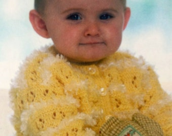 baby knitting pattern lovely cardigan with eyelash detail in sizes 14 to 24 inches double knitting