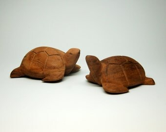 Hand Carved Wood Turtles