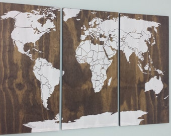World Map Wood Wall Art old world map push pin travel map solid wood wall art