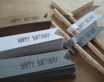 Happy Birthday Straw Flags, Party Supplies, Paper Goods, Grey Straw Flags, Kraft, Party Decorations, Birthday Party, Party Accessories